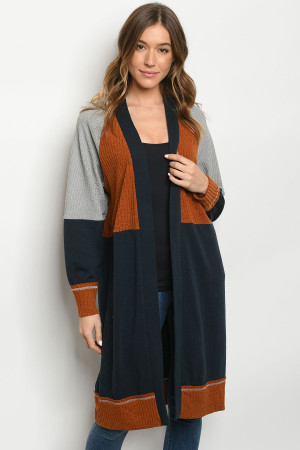 S13-11-3-C1977 RUST NAVY CARDIGAN 3-3