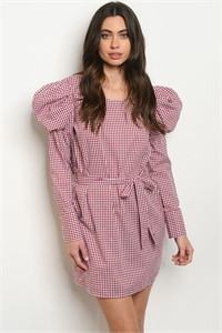 S18-13-5-D10108 BURGUNDY CHECKERED DRESS 2-2-2