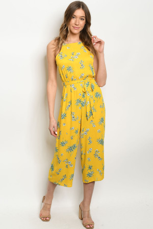 S9-20-2-J6987 YELLOW WITH LEAVES PRINT JUMPSUIT 3-2-2