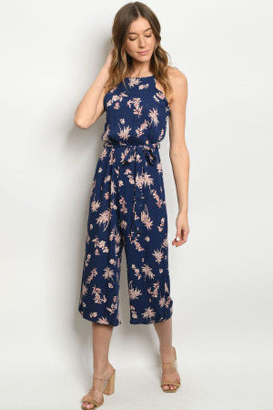 S9-20-2-J6987 NAVY WITH LEAVES PRINT JUMPSUIT 3-2-2
