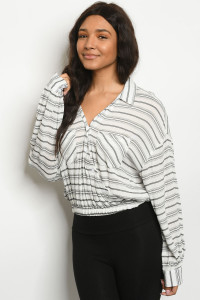 S15-11-4-T43862 WHITE BLACK STRIPES TOP 3-2-1