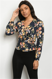 S16-6-1-T3111 NAVY FLORAL TOP 2-2-2