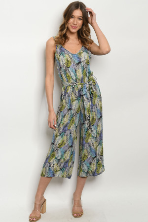 C17-A-1-J1587 MULTI COLOR WITH LEAVES JUMPSUIT 3-2-1