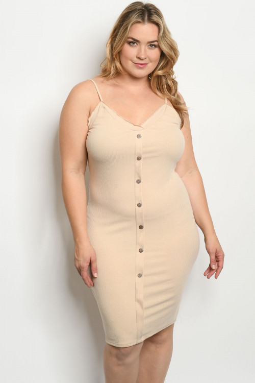 C23-A-2-D0323X SAND PLUS SIZE DRESS 2-2-2