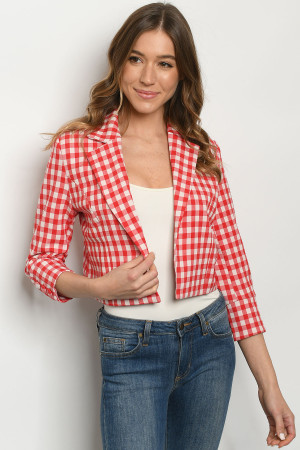 S13-3-1-B37901 RED CHECKERED BLAZER 1-2-2-1
