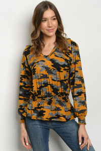 S23-10-2-T2020 MUSTARD CAMOUFLAGE TOP 1-2-2