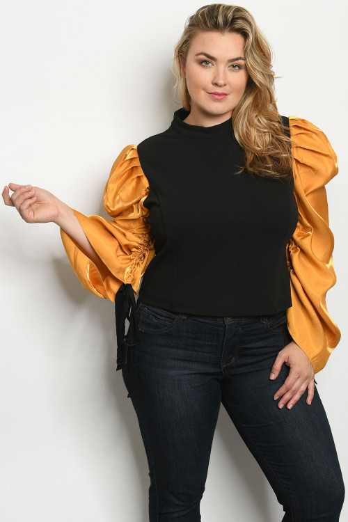 S23-10-2-T40038X BLACK MUSTARD PLUS SIZE TOP 2-1