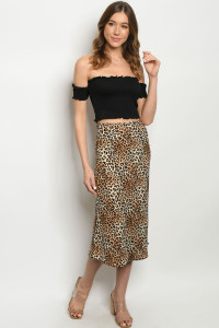 C11-A-1-S11568X TAUPE LEOPARD PRINT SKIRT 2-2-2