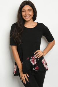 C45-A-3-T26159 BLACK WITH FLOWER PRINT TOP 2-2-2