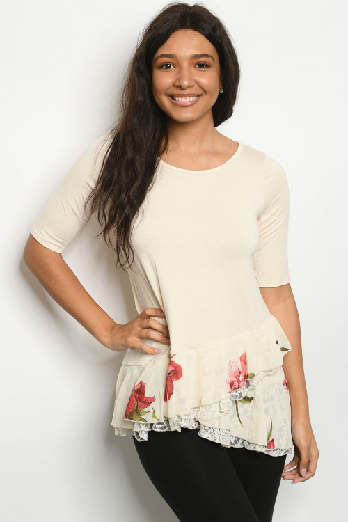 C50-A-1-T26159 CREAM WITH FLOWER PRINT TOP 2-2-2