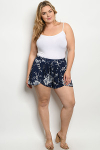 C41-B-1-S12211X NAVY FLORAL PLUS SIZE SHORT 2-2-2