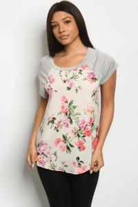 C11-B-1-T5008 CREAM GRAY FLORAL TOP 2-2-2