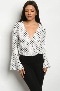 S25-2-4-B181013 IVORY BLACK WITH DOTS BODYSUIT 2-2-2