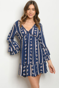 S24-2-4-D180831 NAVY WITH FLOWER PRINT DRESS 2-2-2