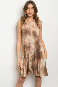 S14-12-1-D8046 CAMEL TIE DYE DRESS 3-2-2