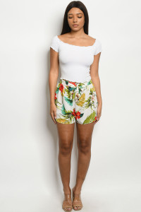 C21-B-3-S0011 OFF WHITE PRINT SHORTS 2-2-2