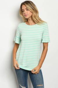 C23-B-1-T0546 MINT IVORY STRIPES TOP 2-2-2