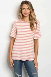 C23-B-2-T0546 PINK IVORY STRIPES TOP 2-2-2