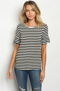 C25-B-1-T0546 IVORY BLACK STRIPES TOP 1-2-1
