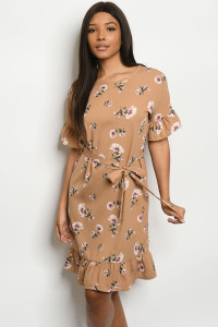 C21-A-3-D1006 MOCHA WITH FLOWER PRINT DRESS 2-2-2