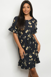 C15-A-1-D1006 NAVY WITH FLOWER PRINT DRESS 2-2-2