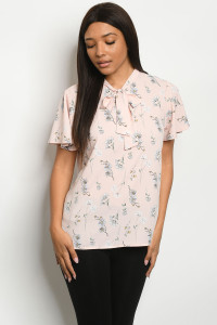 C15-B-2-T1049 PINK WITH FLOWER PRINT TOP 2-2-2
