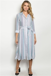 S22-13-1-D8486 SAGE NAVY STRIPES DRESS 2-2-2