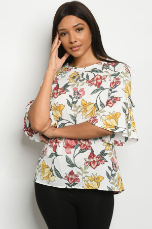 C2-A-3-T3627 IVORY FLORAL TOP 2-2-2-1
