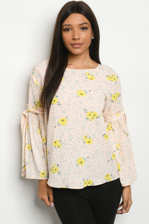S13-9-1-T2231 PEACH WITH FLOWER PRINT TOP 2-2-2