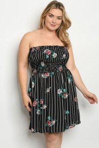 C71-A-1-D3161X BLACK STRIPES FLORAL PLUS SIZE DRESS 2-2-2