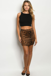 S21-11-2-S90319 BROWN LEOPARD PRINT SKIRT 2-2-2
