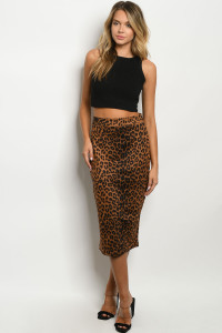 S19-12-3-S90319LS BROWN LEOPARD PRINT SKIRT 3-2-2