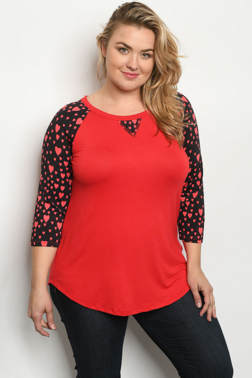 C13-A-2-T21965X RED BLACK WITH HEART PLUS SIZE TOP 2-2-2