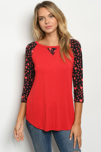 C29-A-2-T2196S RED BLACK WITH HEART TOP 2-2-2