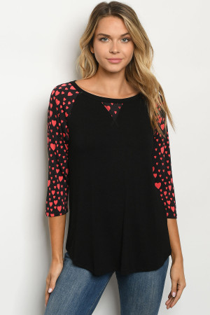 C27-A-1-T2196S BLACK RED WITH HEART TOP 2-2-2