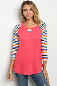 C23-B-1-T2196T CORAL MULTI STRIPES TOP 2-2-2