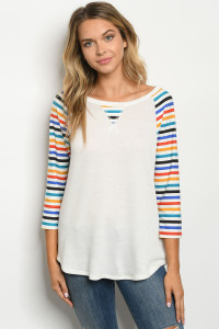 C26-B-1-T2196T IVORY MULTI STRIPES TOP 1-2