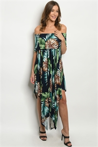 S23-13-2-D11103 NAVY MULTI WITH LEAVES DRESS 3-2-3