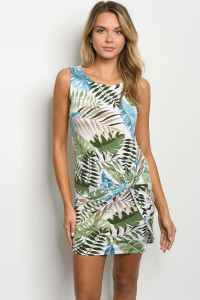 S22-11-2-D11289 OFF WHITE GREEN WITH LEAVES DRESS 2-2-2