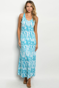 C89-A-1-D7945 TURQUOISE TIE DYE DRESS 2-2-2