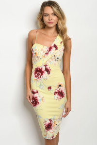 C83-A-1-D7327 YELLOW FLORAL DRESS 2-2-2