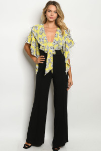 C97-A-1-J5482 YELLOW BLACK WITH FLOWER JUMPSUIT 2-2-2