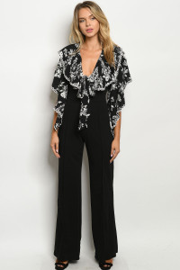 Z-B-J5482 BLACK WHITE WITH FLOWER JUMPSUIT 2-2-2