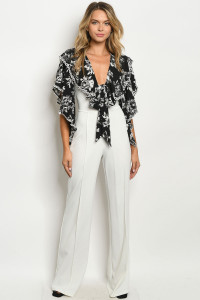 Z-B-J5482 IVORY BLACK WITH FLOWER PRINT JUMPSUIT 2-2-2