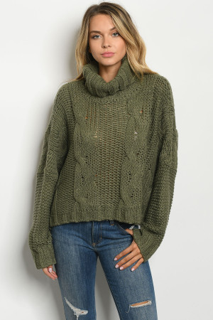 S25-8-1-S19798 OLIVE SWEATER 2-2-2