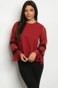 S9-3-4-T1232540 BURGUNDY TOP 2-2-2