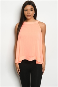 S10-18-2-T1234128 NEON CORAL TOP 1-2-2