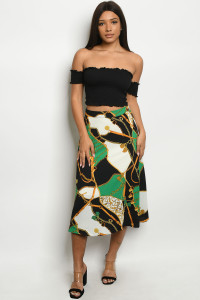 S16-8-4-S6653 GREEN BLACK W/ CHAIN PRINT SKIRT 2-2-2