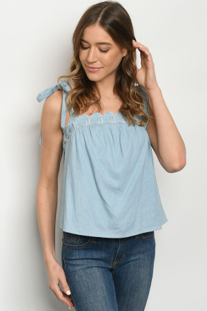 S9-3-5-T7380 BLUE DENIM TOP 2-2-2