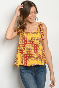 S8-8-2-T6479 YELLOW FLORAL TOP 2-2-2